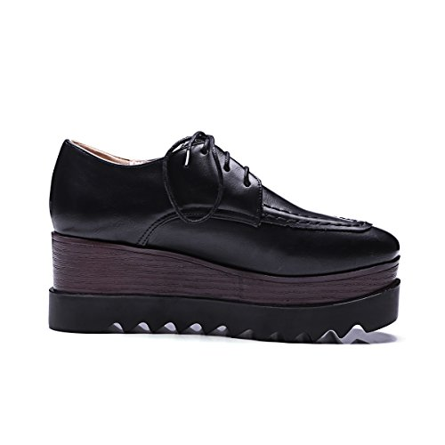 Platform Black Up Women's Lace Oxfords Casual Shine Show Shoes axgzqvf