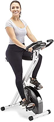 Marcy Foldable Upright Exercise Bike with Adjustable Resistance for Cardio Workout & Strength Training - M