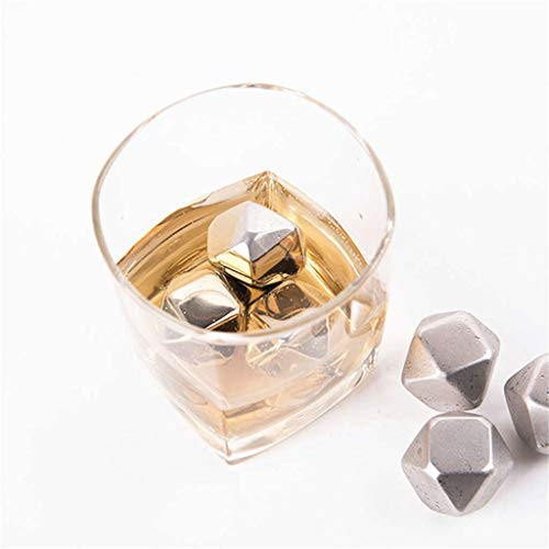 weiadinga Polygonal Stainless Steel Ice Tartar Stainless Steel Ice Cubes Reusable Metal Chilling Stones with Whisky Keep Cold (B)
