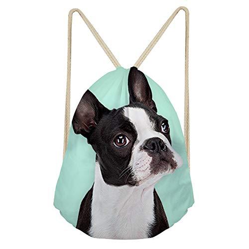 (Showudesigns Boston Terrier Drawstring Backpack for Kids Men Women Outdoor Sport Travel Gym Daypack)