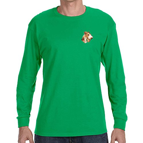 Cherrybrook Dog Breed Embroidered Long Sleeve Mens T-Shirts - Small - Irish Green - Wire Fox Terrier ()