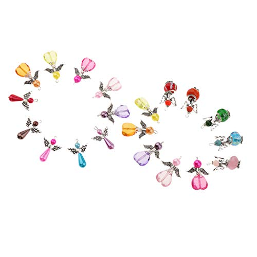 Prettyia 20Pcs Mixed Shapes Angle Fairy Wing Charms, Handmade Jewelry Making Accessories, DIY Key Chain, Zipper Pulls, DIY Crafts, 3x2.1cm