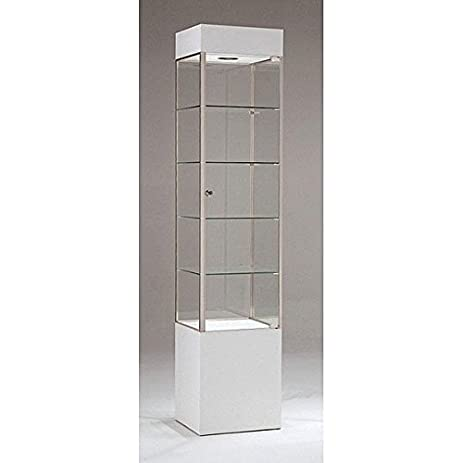 Gentil Trophy Cabinet With Glass Doors Square Tower Frame Display Assembled  White/Chrome US Made NEW