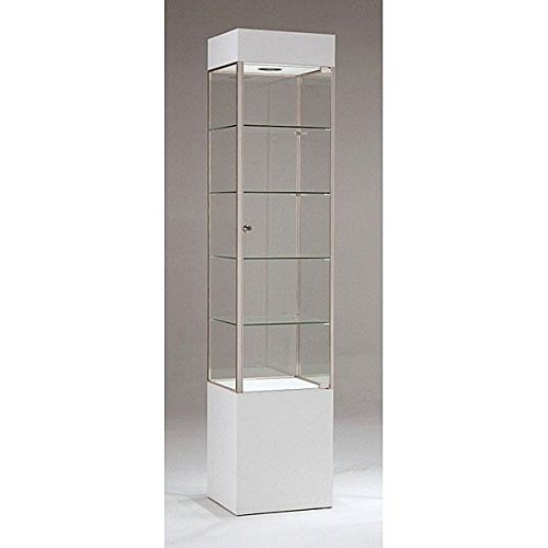 Trophy Cabinet With Glass Doors Square Tower Frame Display Assembled White/Chrome US Made NEW