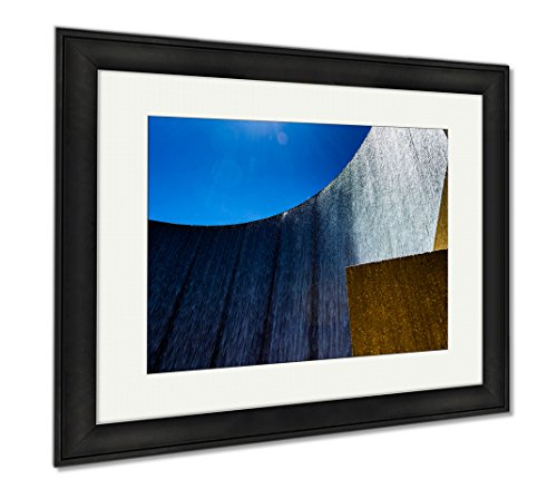 Ashley Framed Prints Houston Galleria Waterfall Fountain By The Galleria Mall, Office/Home/Kitchen Decor, Color, 30x35 (frame size), Black Frame, - Houston The Galleria Mall