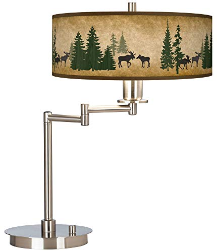 Moose Lodge Giclee CFL Swing Arm Desk Lamp - Giclee Gallery