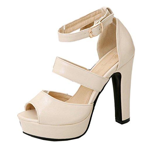 COOLCEPT Zapato Mujer New Peep Toe Talon Aiguille Tacon Alto Al Tobillo Vestir Sandalias Mini Size Beige