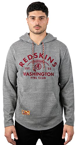 NFL Men's Washington Redskins Fleece Hoodie Pullover Sweatshirt Vintage Snow, X-Large, Gray