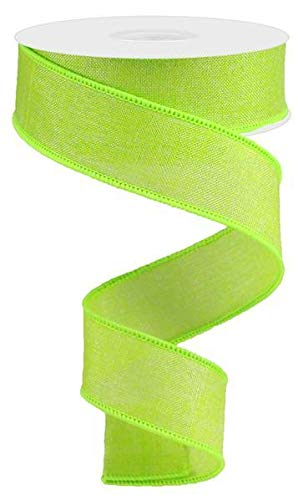 Shiny Solid Canvas Wired Edge Ribbon, 10 Yards (Lime Green, 1.5