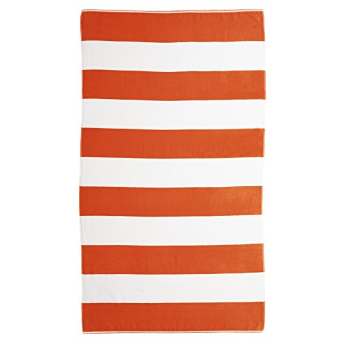 Caro Home Cabana Beach Towel (Orange) - 100% Cotton Premium Quality X-Large Cabana Striped, Orange, 40