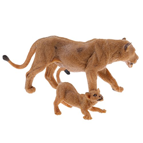 MonkeyJack NEW Simulation Wildlife Animal Model Figurine Educational Science & Nature Toy - Female Lion & Cub - Lion Cub Figurine