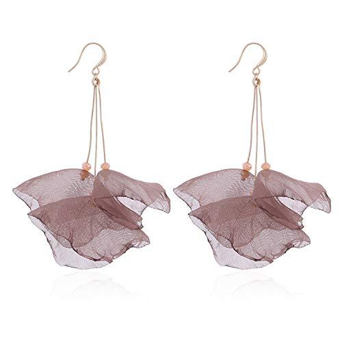 Women Beautiful Earring 2019 New Design Bright Color Yarn Flower Dangle Drop Earrings Fashion Long Summer Jewelry,Brown
