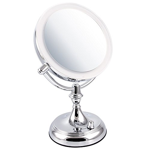 Ovente LED Lighted Makeup Mirror, Dimmable, Battery or USB A
