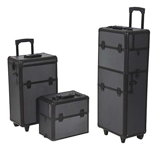 - Best Choice Products Rolling Cosmetic Makeup Case 2 IN 1 Make Up Artist Case Aluminum Construction BK