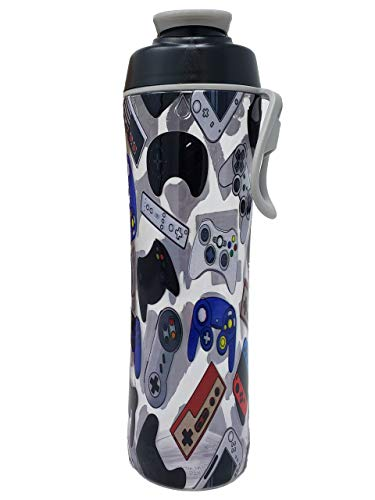 24 oz. Water Bottle for Kids - Boys Designs - Video Games and Gamer Patterns - BPA-Free Leak Proof Flip Top Cap & Easy Carry Strap - Fits in Backpack or School Bag - Great Boy Gift (Video Games)