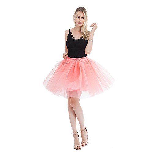 ticoat Adult A-Line Tutus for Women Tulle Skirt for Bridesmaid/Wedding Flower Girl Gown Prom Party (Watermelon Red) ()