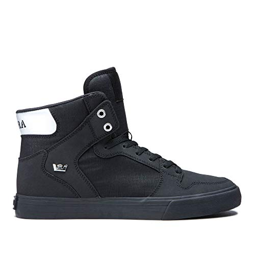 Supra Footwear - Vaider High Top Skate Shoes, Black/Chrome-Black, 13.5 M US Women/12 M US Men ()