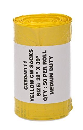 HPC Aussparung zum Zurücklehnen hccx50 m111 Medizinische Abfälle, stärkegrad Medium Duty Sack Rolle, unsteril, 90 l/5 kg Kapazität, 5/71,1 cm Dick, 99,1 cm Länge, gelb (50 Stück)