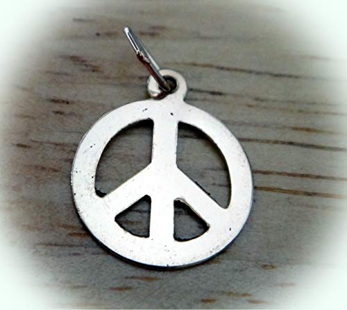 Small 11mm Gold Filled Flat Peace Sign Charm Vintage Crafting Pendant Jewelry Making Supplies - DIY for Necklace Bracelet Accessories by - Pendant Peace Flat Sign