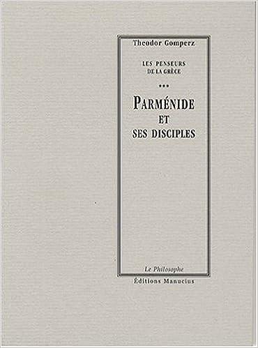 Livres Parménide et ses disciples pdf epub