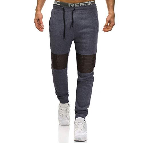 ANJUNIE Men Casual Pacthwork Overalls Pocket Sport Work Trouser Long Pants(1-Dark Gray,XXL)