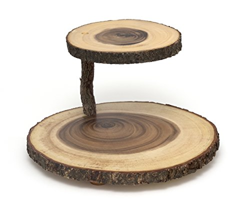 Lipper International 1024 Acacia 2-Tier Tree Bark Server for Meats, Cheeses, and Crackers (Rustic Wood Cupcake Stand)