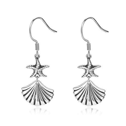 WINNICACA Mermaid Scallop Shell Earrings Sterling Silver Starfish Sea Dangle Drop Earrings Beach Jewelry Gifts for Women Girls Birthdya