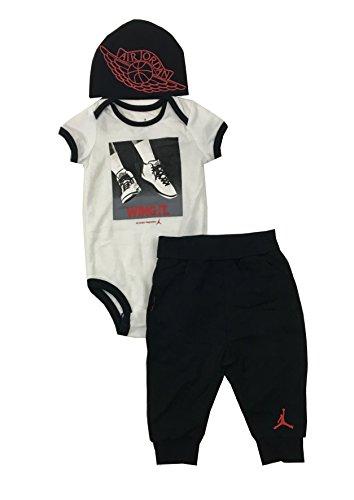 Air Jordan Infant Boys 3-Piece Bodysuit, Pants, and Hat Set Black Size 6/9