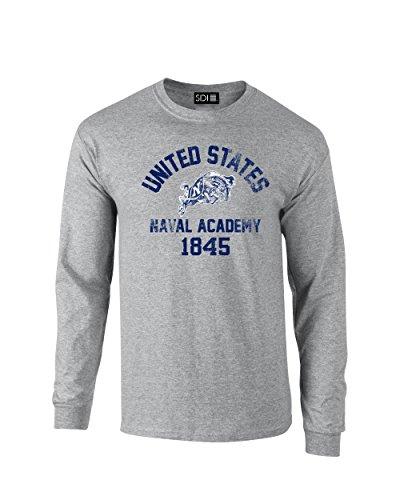 NCAA Navy Midshipmen Mascot Block Arch Long Sleeve T-Shirt, XX-Large, Sport Grey