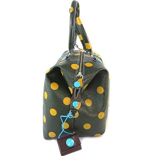 Bolso de cuero 3 en 1 'Gabs'negro barniz amarillo (guisantes)(l)- 43x37x2.5 cm.
