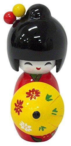 Traditional Japanese Wooden Kokeshi Doll with Umbrella (Yellow) - Kokeshi Style Doll