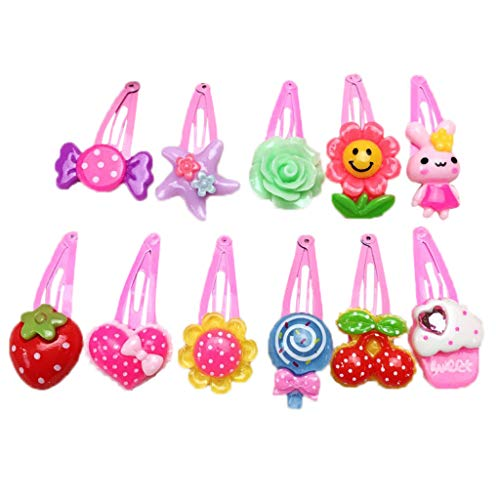 RingBuu 1Pc - 3cm - Baby/Kids/Girl - Cute - Metal Alloy - BB Hair Clips - Cartoon Flower/Fruit/Cake - Resin - Snap Hairpins - Colorful Barrettes - Random Delivery
