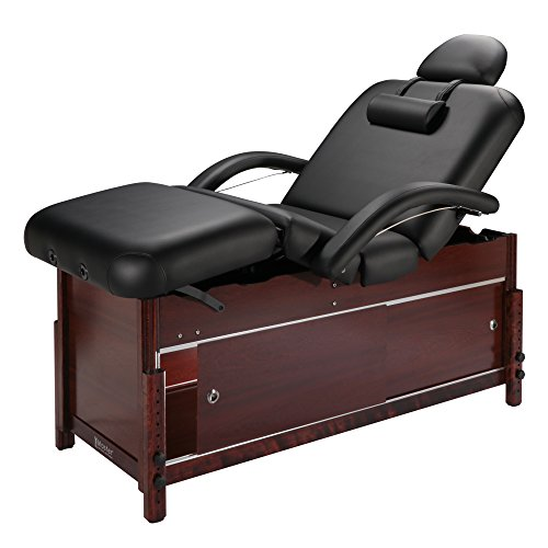 """Master Massage Cabrillo Stationary Massage Table with Cabinet, Pneumatic Tilting Backrest & Leg Rest, Black with Walnut Legs, 30"""""""