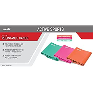 AVIA | 3-Pack TPE Varying Resistance Bands- Mint, Coral, Pink