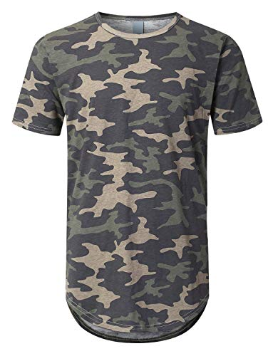 URBANCREWS Mens Hipster Hip Hop Basic Drop Tail Longline T-Shirt CAMO, S