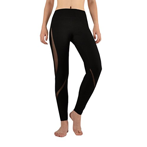 Threelove Women's Mesh Tights Workout Stretch Yoga Pants 90 Degree Mid-Waist Slim Capri Leggings Black-3 - Pima Sleeve Stretch Jersey