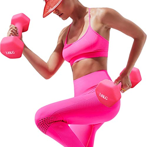 LATIBELL 2pcs one Pair Pink Dumbbells Home Gym Exercise Equipment Handles Arm Dumbbells Body Building Weight Exercise…
