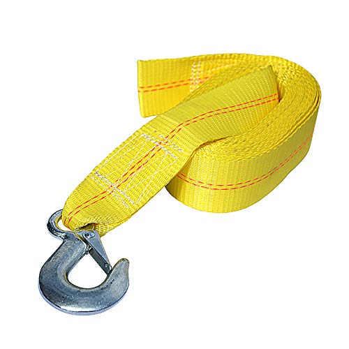 Seamander Trailer Winch Strap with Hook 5000lb 2 Inch (20FT&25FT) (25FT, Yellow)