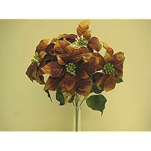 """Christmas Poinsettia Glitter Bush Artificial Silk Flower 18"""" Bouquet 5-139 57"""