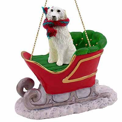 (Great Pyrenees Sleigh Ride Christmas Ornament - DELIGHTFUL! by Conversation)