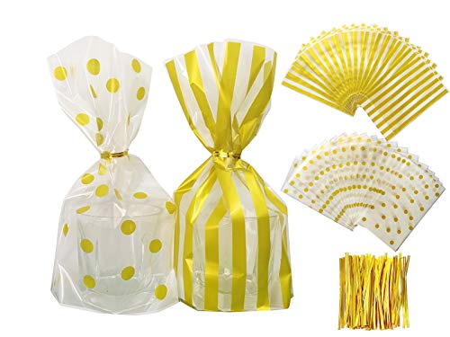 Clear Cello Plastic Treat Bags for Bakery Cookie Candy Chocolate Snack Wrapping Party Favor Bags, for Wedding Shower Kid's Birthday Party, Gold Stripe and Polka Dot Printed Bags with Twist Ties(Gold) (Twist Stripe Ties)