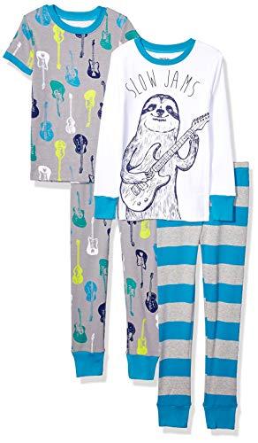 Amazon Brand - Spotted Zebra Kids 4-Piece Snug-Fit Cotton Pajama Set, Sloth Jams, Medium