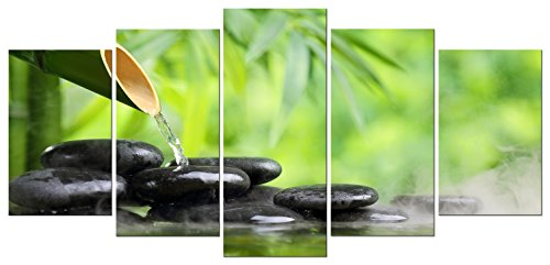 Piece Bedroom 5 - Pyradecor Giclee Canvas Prints Wall Art Green Zen Bamboo Pictures Paintings for Bathroom Living Room Bedroom Home Decorations 5 Piece Modern Stretched and Framed Nature Romance Landscape Artwork