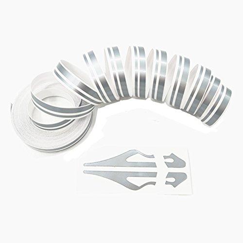 (Grey Pinstripe Tape - DIY Vinyl Pin Stripe Decals Auto Pinstriping Tape Waterproof Silver)