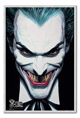 Approx 38 x 26 inches 96.5 x 66 cms DC Comics Joker Ross Poster Cork Pin Memo Board Silver Framed