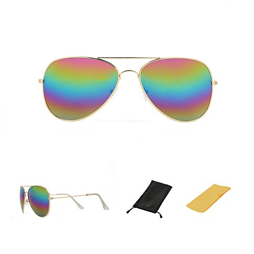 Full Mirrored Aviator Sunglasses for Men and Women UV Protection Sunglasses (Gold Frame Colorful Lens, UV - Aviator Sunglasses Colorful