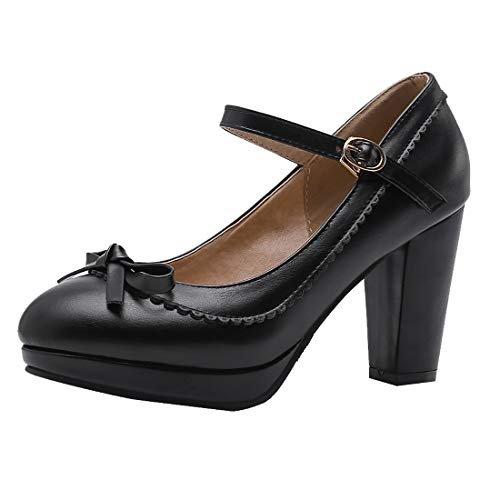 - Vitalo Womens Vintage Rockabilly Shoes Mary Jane Chunky High Heels Platform Pumps with Bowtie Size 7.5 B(M) US,2 Black