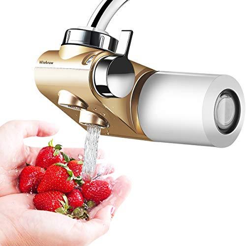 WinArrow- Filtro de Agua Para Grifo, Filtro de Agua Actualizado con KDF55 Filtro de Ceramica de Alta Precision Eliminar el Cloro para Cocina y Bano