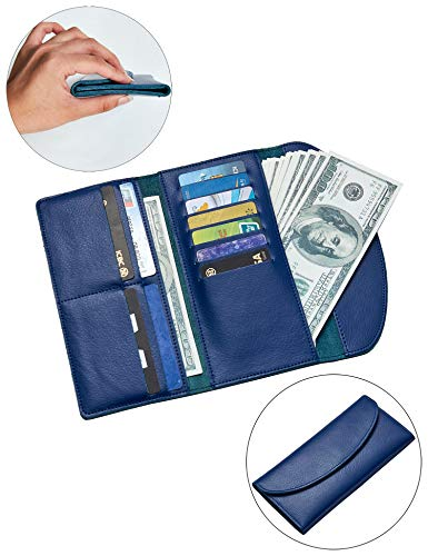 ther Trifold Envelope Ultra-Thin Slim Long wallets with snap Closure For Women (Blue) ()