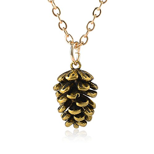 palettei Pinecone Pendant Necklace - Autumn Mini Acorn Pine Cone Pendant Necklaces (Acorn Mini Pendant)